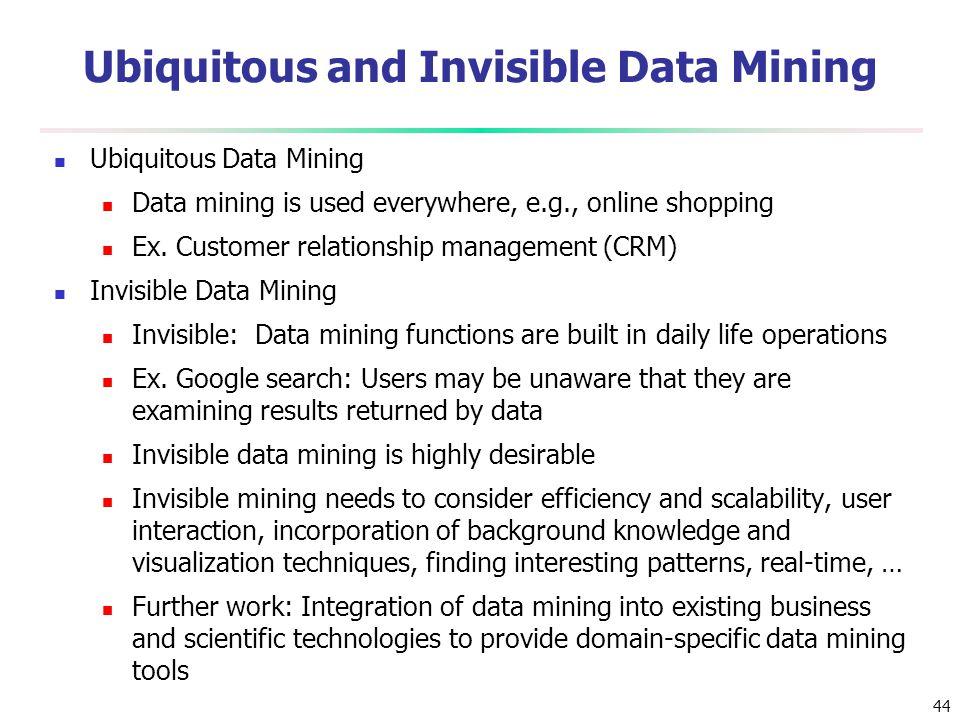 44 Ubiquitous and Invisible Data Mining Ubiquitous Data Mining Data mining is used everywhere, e.g., online shopping Ex. Customer relationship managem