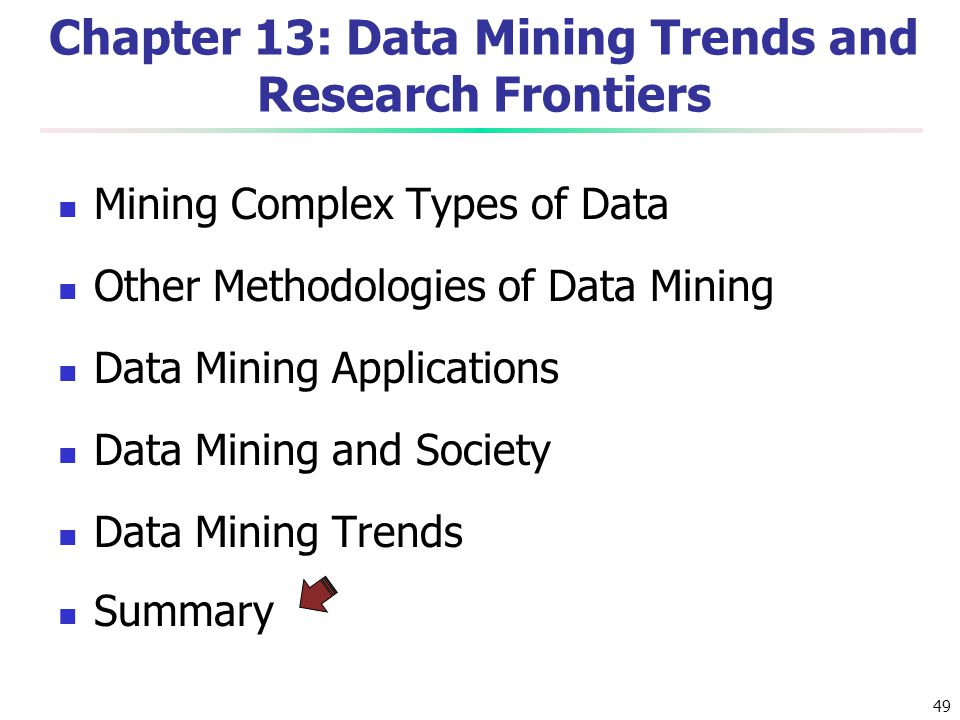 49 Chapter 13: Data Mining Trends and Research Frontiers Mining Complex Types of Data Other Methodologies of Data Mining Data Mining Applications Data