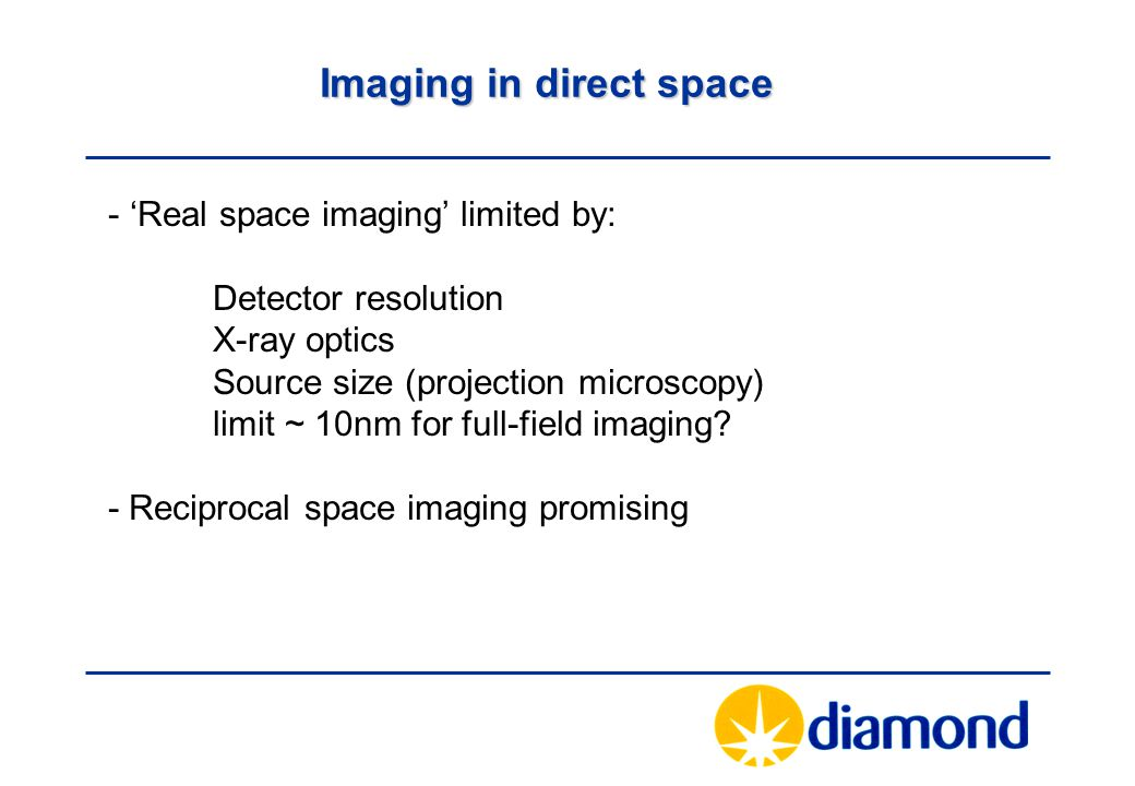 Imaging in direct space - 'Real space imaging' limited by: Detector resolution X-ray optics Source size (projection microscopy) limit ~ 10nm for full-field imaging.