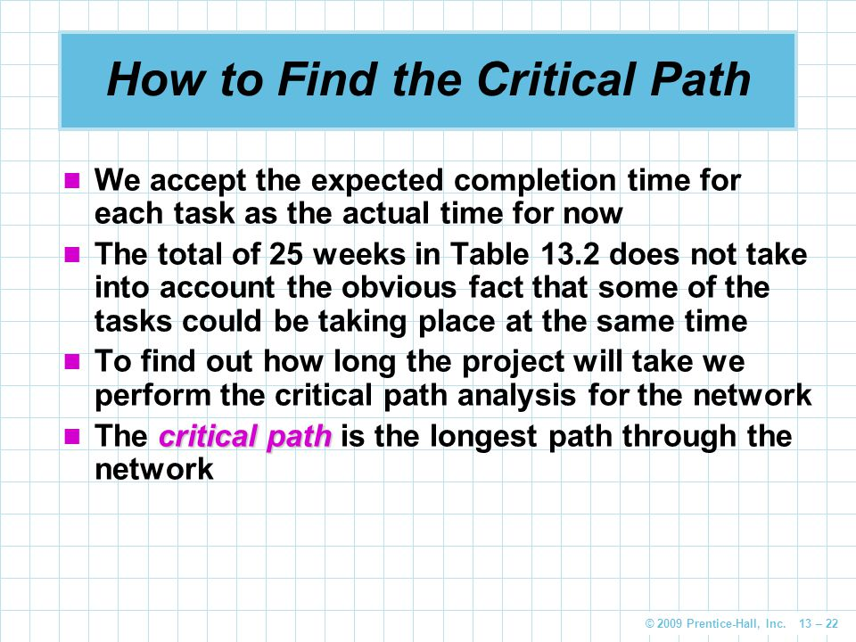 © 2009 Prentice-Hall, Inc. 13 – 22 How to Find the Critical Path We accept the expected completion time for each task as the actual time for now The t