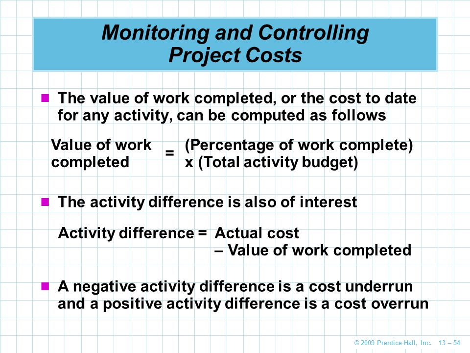 © 2009 Prentice-Hall, Inc. 13 – 54 Monitoring and Controlling Project Costs The value of work completed, or the cost to date for any activity, can be