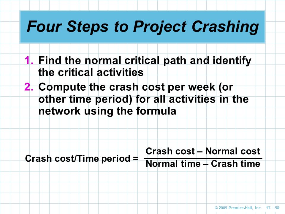 © 2009 Prentice-Hall, Inc. 13 – 58 Four Steps to Project Crashing 1.Find the normal critical path and identify the critical activities 2.Compute the c