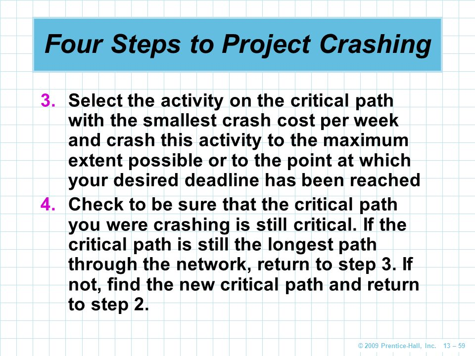© 2009 Prentice-Hall, Inc. 13 – 59 Four Steps to Project Crashing 3.Select the activity on the critical path with the smallest crash cost per week and