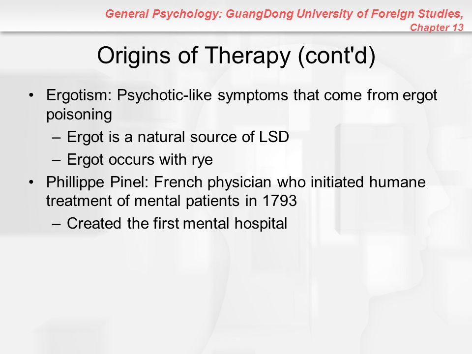 General Psychology: GuangDong University of Foreign Studies, Chapter 13 Cognitive Therapy Therapy that helps clients change thinking patterns that lead to problematic behaviors or emotions Selective Perception: Perceiving only certain stimuli in a larger group of possibilities Overgeneralization: Allowing upsetting events to affect unrelated situations All-or-Nothing Thinking: Seeing objects and events as absolutely right or wrong, good or bad, and so on Cognitive therapy is VERY effective in treating depression, shyness, and stress