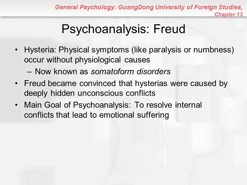 General Psychology: GuangDong University of Foreign Studies, Chapter 13 Some Key Techniques of Psychoanalysis Free Association: Saying whatever comes to mind, regardless of how embarrassing it is or how unimportant it may seem –By doing so without censorship and censure, unconscious material can emerge Dream Analysis: Dreams express forbidden desires and unconscious feelings –Latent Content: Hidden, symbolic meaning of dreams –Manifest Content: Obvious, visible meaning of dreams –Dream Symbols: Images in dreams that have personal or emotional meanings