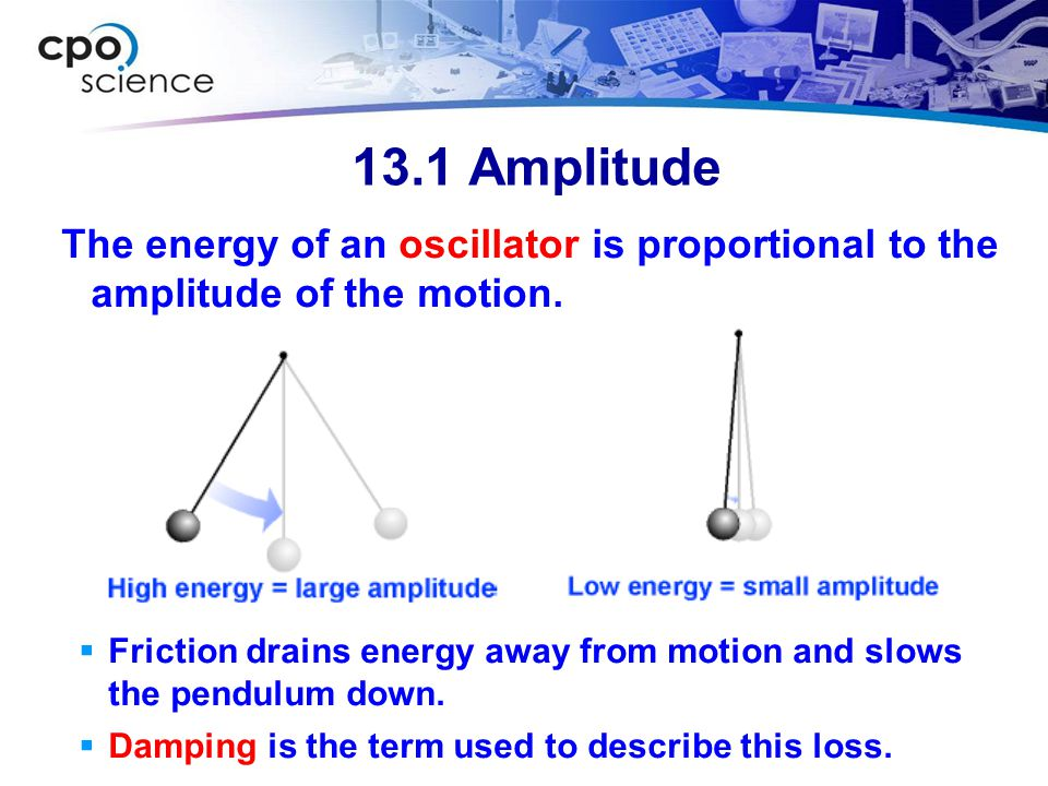 13.1 Amplitude The energy of an oscillator is proportional to the amplitude of the motion.  Friction drains energy away from motion and slows the pen