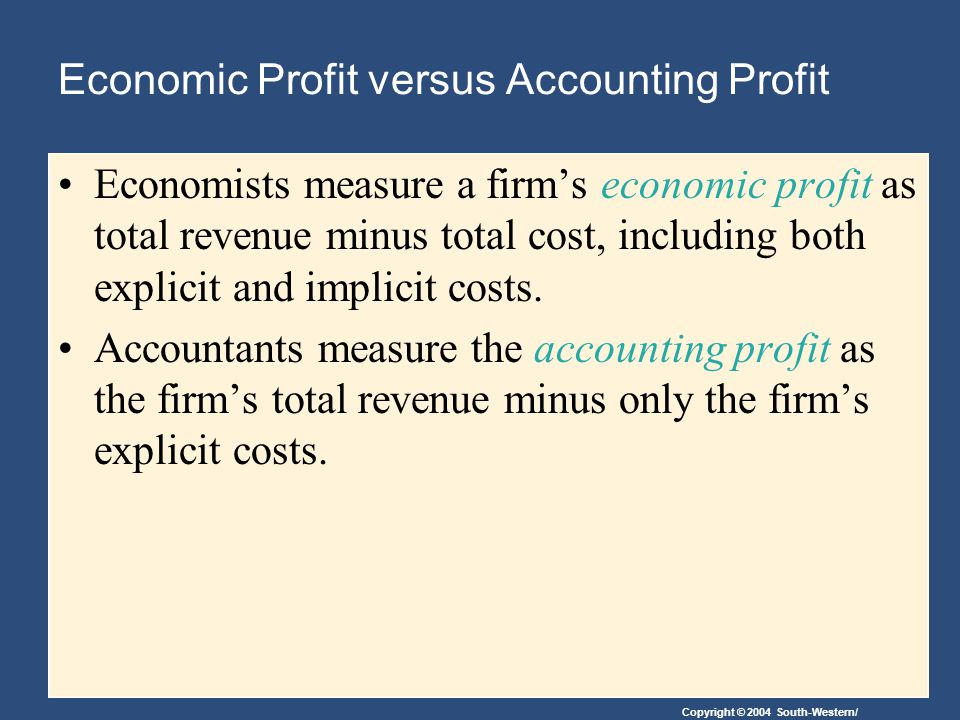 Copyright © 2004 South-Western/ Economic Profit versus Accounting Profit When total revenue exceeds both explicit and implicit costs, the firm earns economic profit.