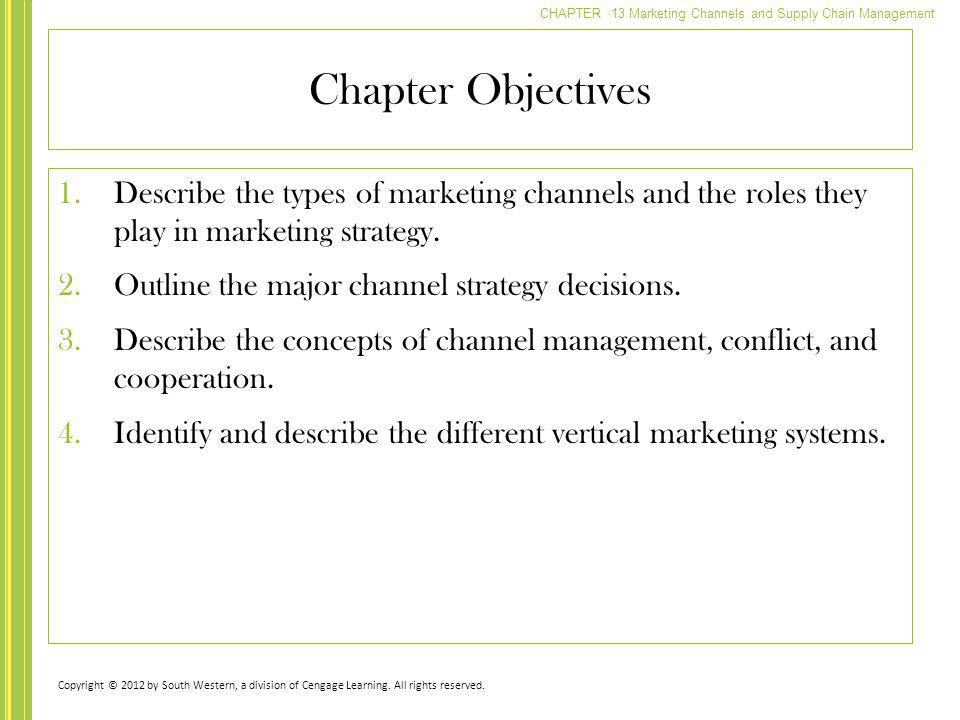 CHAPTER 13 Marketing Channels and Supply Chain Management Chapter Objectives 1.Describe the types of marketing channels and the roles they play in mar