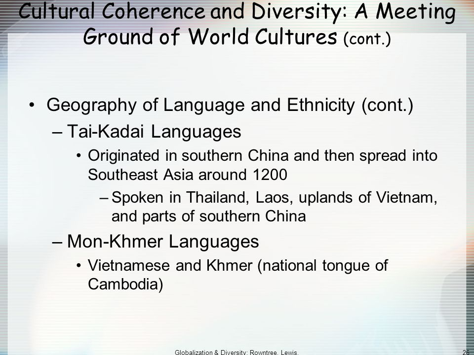 Globalization & Diversity: Rowntree, Lewis, Price, Wyckoff 26 Cultural Coherence and Diversity: A Meeting Ground of World Cultures (cont.) Geography of Language and Ethnicity (cont.) –Tai-Kadai Languages Originated in southern China and then spread into Southeast Asia around 1200 –Spoken in Thailand, Laos, uplands of Vietnam, and parts of southern China –Mon-Khmer Languages Vietnamese and Khmer (national tongue of Cambodia)