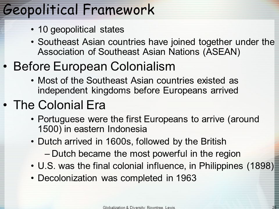 Globalization & Diversity: Rowntree, Lewis, Price, Wyckoff 28 Geopolitical Framework 10 geopolitical states Southeast Asian countries have joined together under the Association of Southeast Asian Nations (ASEAN) Before European Colonialism Most of the Southeast Asian countries existed as independent kingdoms before Europeans arrived The Colonial Era Portuguese were the first Europeans to arrive (around 1500) in eastern Indonesia Dutch arrived in 1600s, followed by the British –Dutch became the most powerful in the region U.S.