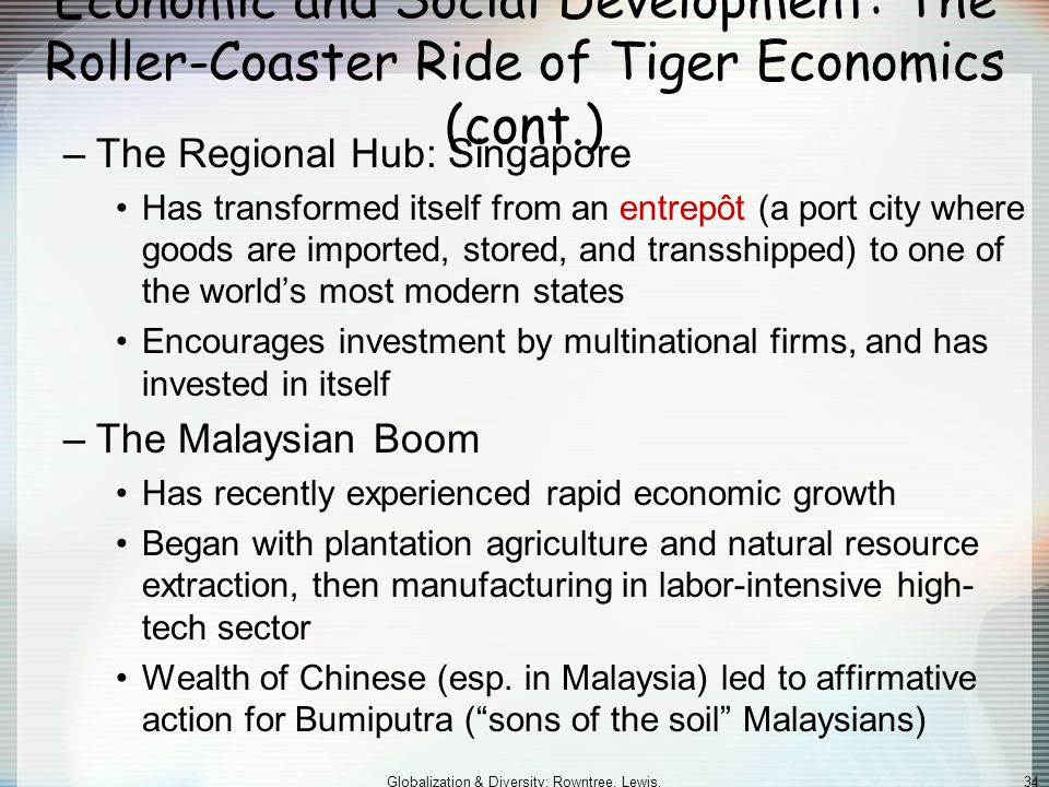 Globalization & Diversity: Rowntree, Lewis, Price, Wyckoff 34 Economic and Social Development: The Roller-Coaster Ride of Tiger Economics (cont.) –The Regional Hub: Singapore Has transformed itself from an entrepôt (a port city where goods are imported, stored, and transshipped) to one of the world's most modern states Encourages investment by multinational firms, and has invested in itself –The Malaysian Boom Has recently experienced rapid economic growth Began with plantation agriculture and natural resource extraction, then manufacturing in labor-intensive high- tech sector Wealth of Chinese (esp.