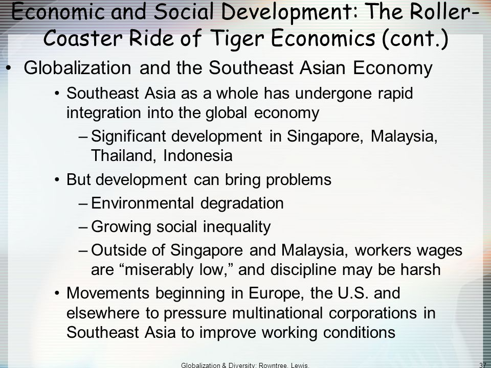 Globalization & Diversity: Rowntree, Lewis, Price, Wyckoff 37 Economic and Social Development: The Roller- Coaster Ride of Tiger Economics (cont.) Globalization and the Southeast Asian Economy Southeast Asia as a whole has undergone rapid integration into the global economy –Significant development in Singapore, Malaysia, Thailand, Indonesia But development can bring problems –Environmental degradation –Growing social inequality –Outside of Singapore and Malaysia, workers wages are miserably low, and discipline may be harsh Movements beginning in Europe, the U.S.
