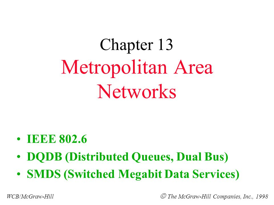 Chapter 13 Metropolitan Area Networks IEEE 802.6 DQDB (Distributed Queues, Dual Bus) SMDS (Switched Megabit Data Services) WCB/McGraw-Hill  The McGraw-Hill Companies, Inc., 1998