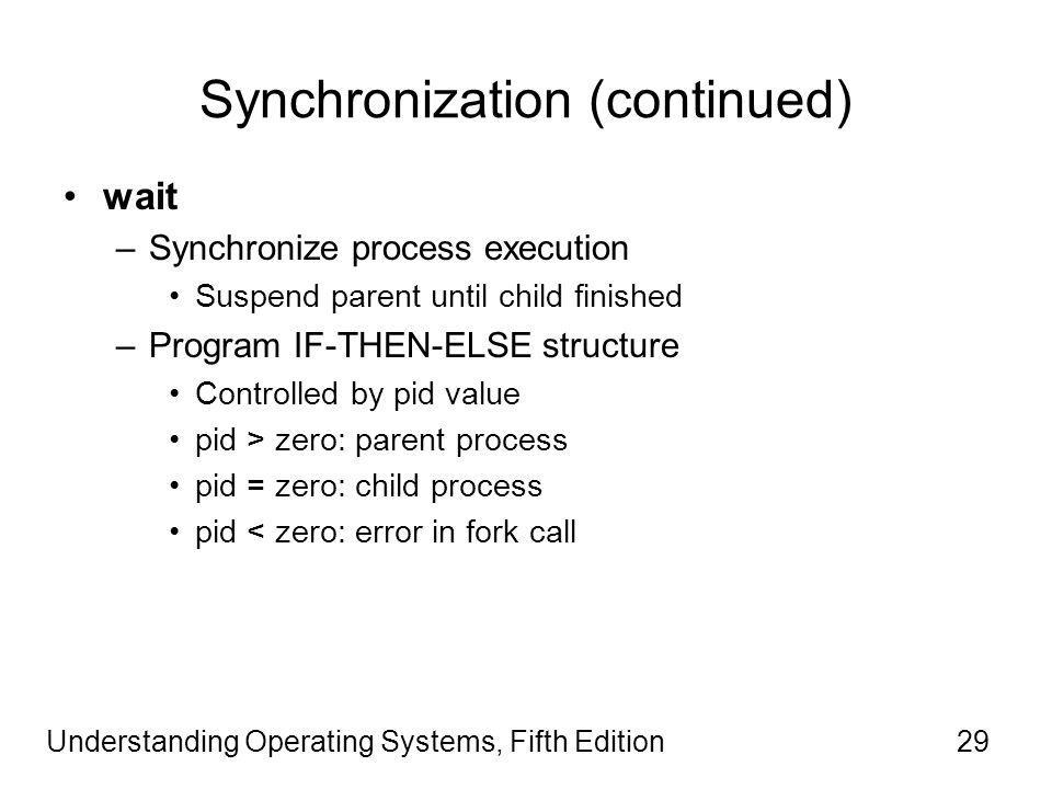 Understanding Operating Systems, Fifth Edition29 Synchronization (continued) wait –Synchronize process execution Suspend parent until child finished –Program IF-THEN-ELSE structure Controlled by pid value pid > zero: parent process pid = zero: child process pid < zero: error in fork call