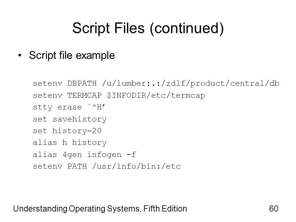Understanding Operating Systems, Fifth Edition60 Script Files (continued) Script file example setenv DBPATH /u/lumber:.:/zdlf/product/central/db setenv TERMCAP $INFODIR/etc/termcap stty erase `^H' set savehistory set history=20 alias h history alias 4gen infogen -f setenv PATH /usr/info/bin:/etc