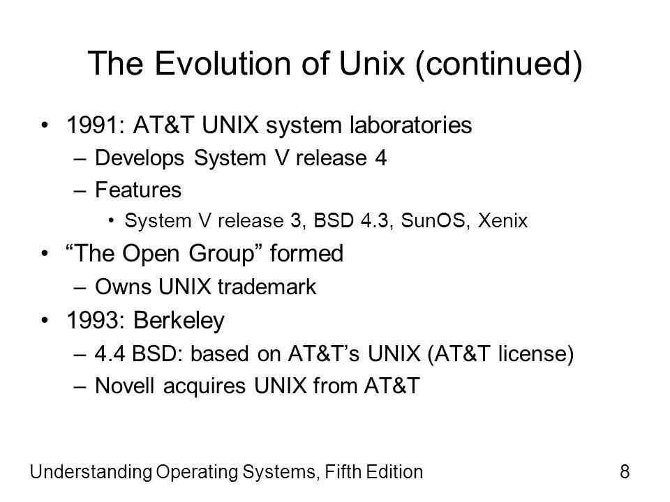 Understanding Operating Systems, Fifth Edition8 The Evolution of Unix (continued) 1991: AT&T UNIX system laboratories –Develops System V release 4 –Features System V release 3, BSD 4.3, SunOS, Xenix The Open Group formed –Owns UNIX trademark 1993: Berkeley –4.4 BSD: based on AT&T's UNIX (AT&T license) –Novell acquires UNIX from AT&T