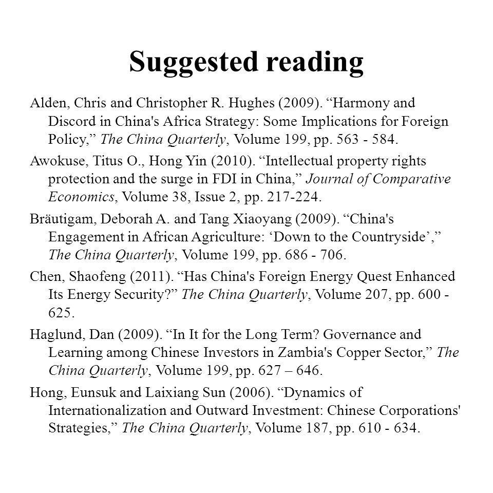 Suggested reading Alden, Chris and Christopher R. Hughes (2009).