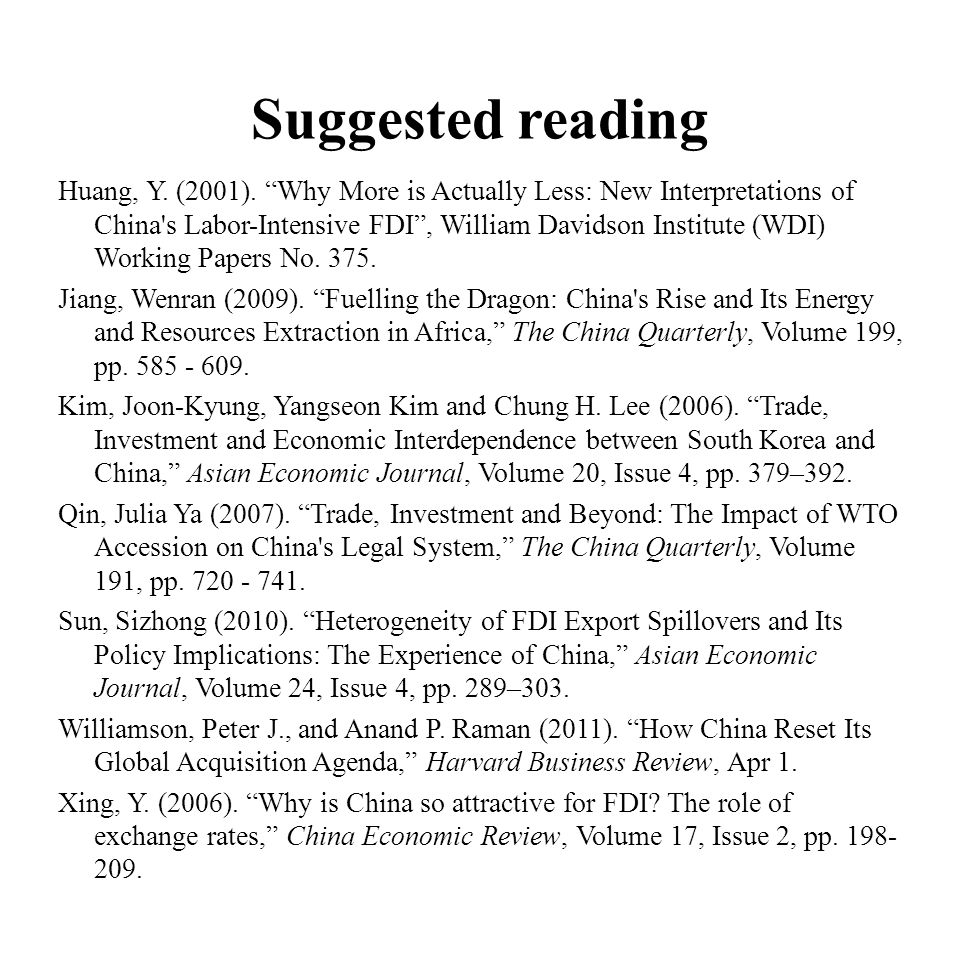 Suggested reading Huang, Y. (2001).
