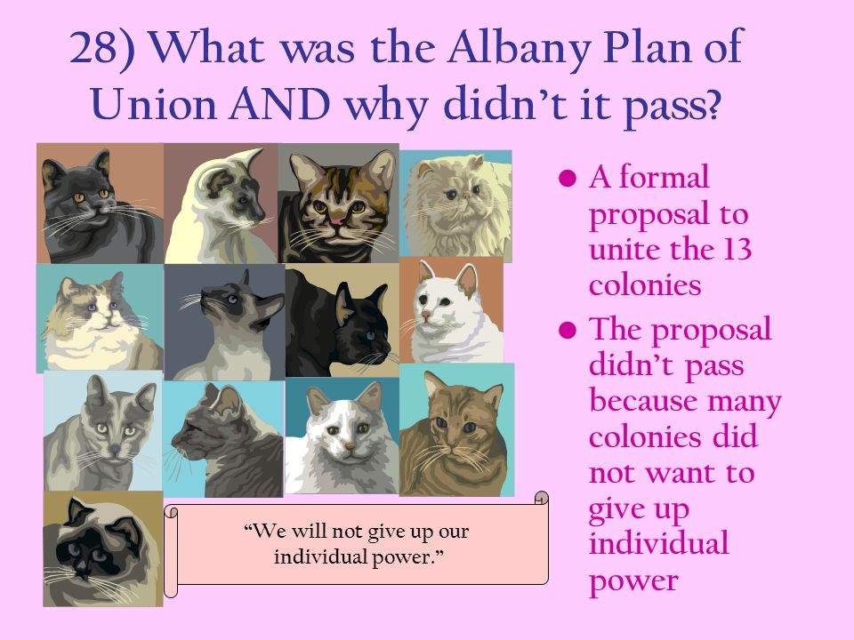 28) What was the Albany Plan of Union AND why didn't it pass? A formal proposal to unite the 13 colonies The proposal didn't pass because many colonie