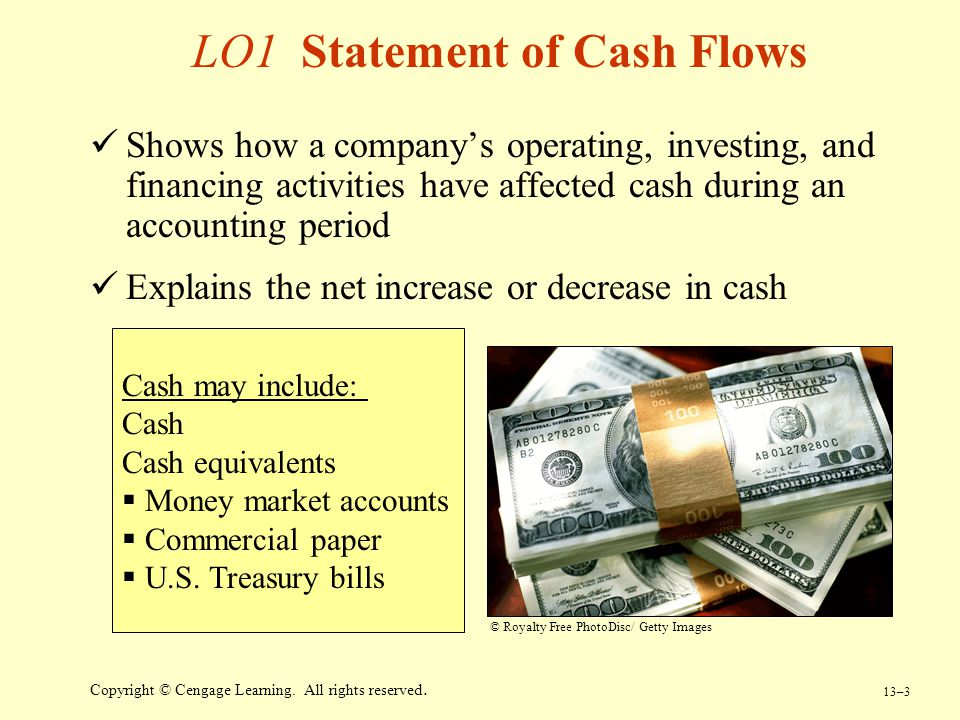 13–3 Copyright © Cengage Learning. All rights reserved. LO1 Statement of Cash Flows Shows how a company's operating, investing, and financing activiti
