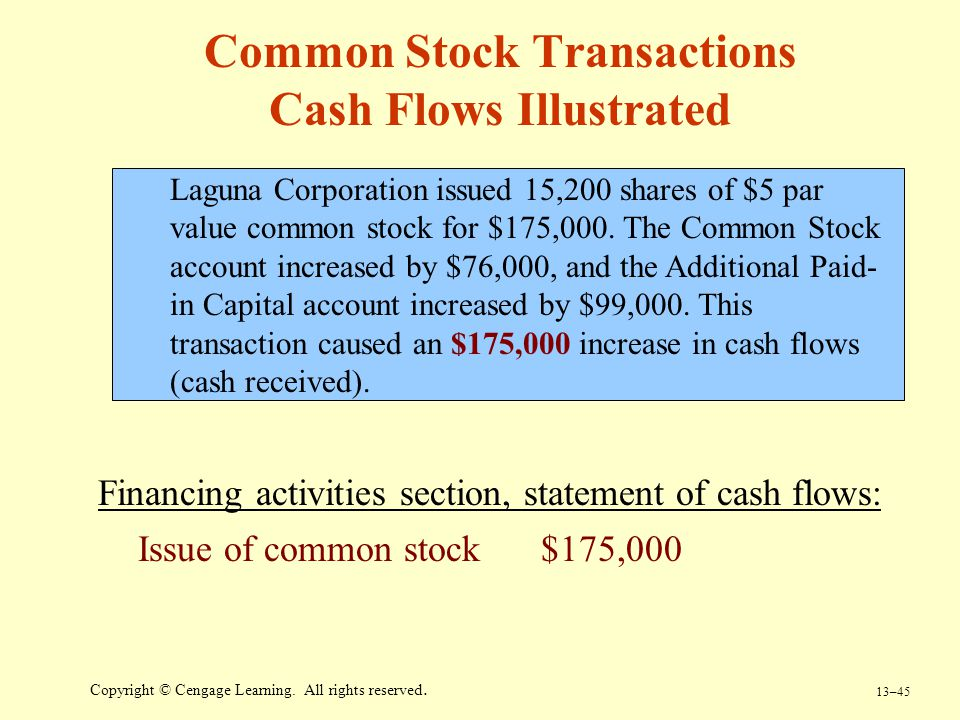 13–45 Copyright © Cengage Learning. All rights reserved. Common Stock Transactions Cash Flows Illustrated Laguna Corporation issued 15,200 shares of $
