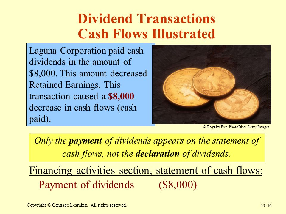 13–46 Copyright © Cengage Learning. All rights reserved. Dividend Transactions Cash Flows Illustrated Laguna Corporation paid cash dividends in the am