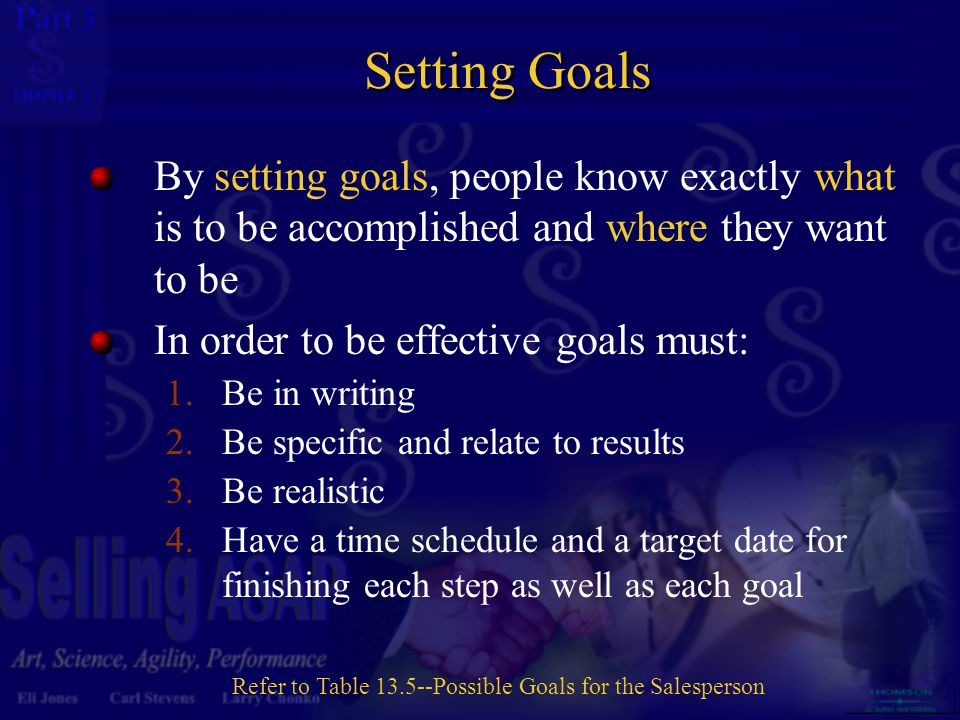 3 13 Setting Goals By setting goals, people know exactly what is to be accomplished and where they want to be In order to be effective goals must: 1.B