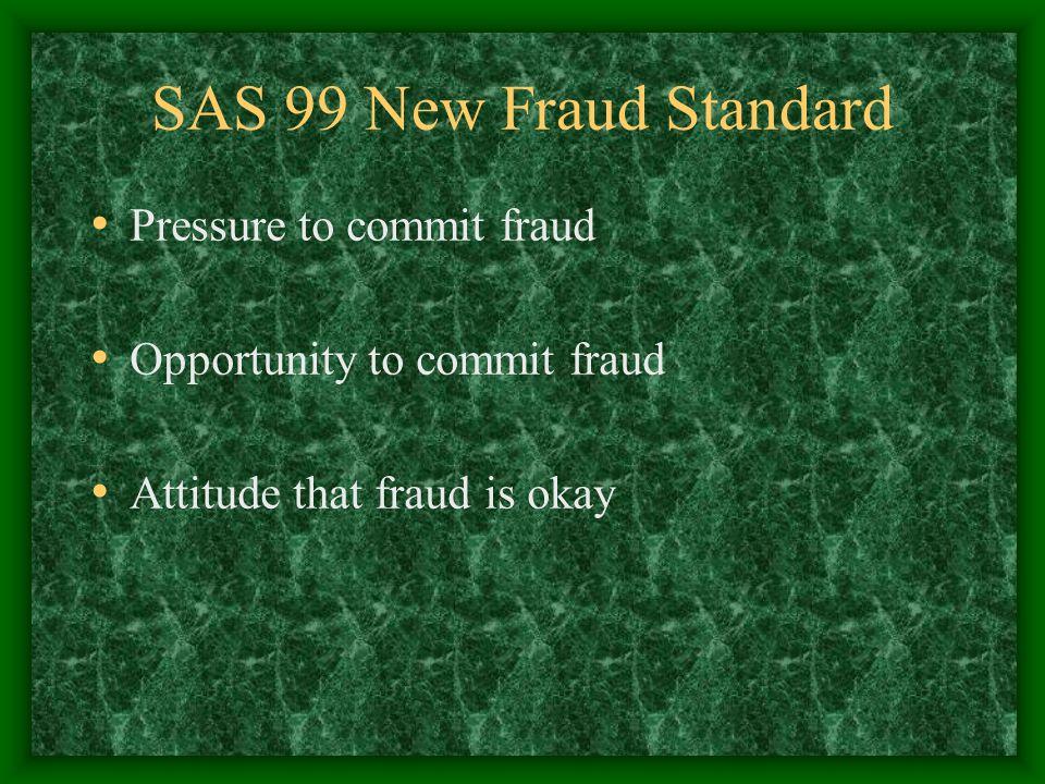 SAS 99 New Fraud Standard Pressure to commit fraud Opportunity to commit fraud Attitude that fraud is okay