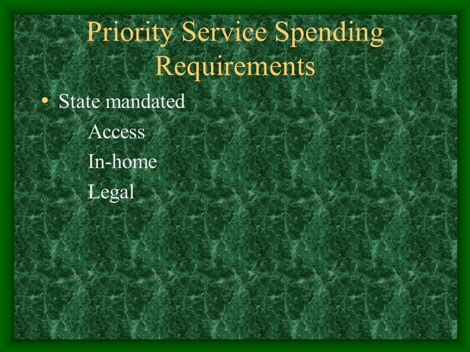 Priority Service Spending Requirements State mandated Access In-home Legal
