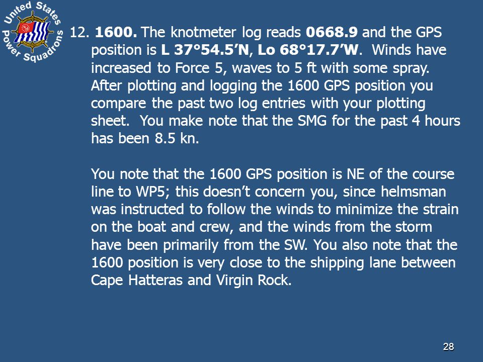 28 12. 1600. The knotmeter log reads 0668.9 and the GPS position is L 37°54.5'N, Lo 68°17.7'W. Winds have increased to Force 5, waves to 5 ft with som