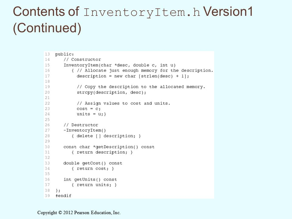 Contents of InventoryItem.h Version1 (Continued)