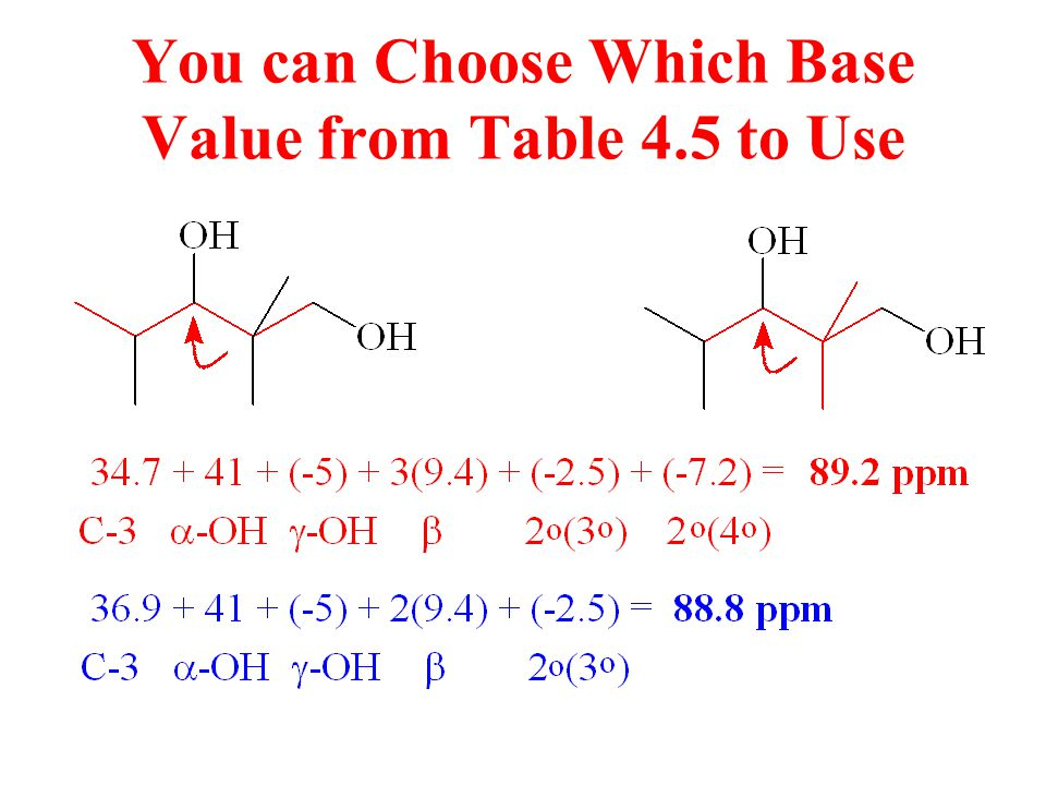 You can Choose Which Base Value from Table 4.5 to Use