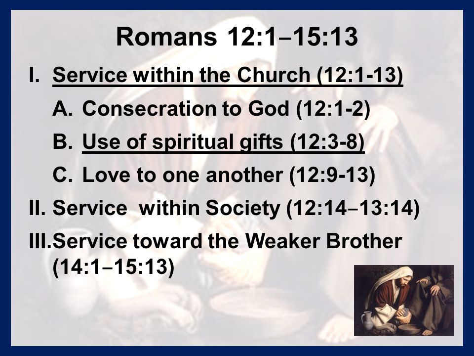 Romans 12:1 ‒ 15:13 I. I.Service within the Church (12:1-13) A.