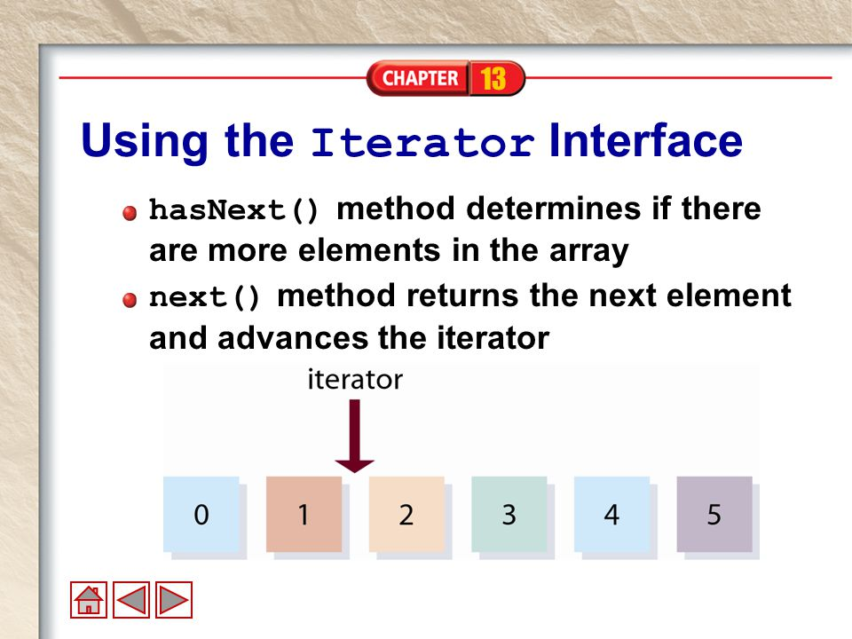 13 Using the Iterator Interface hasNext() method determines if there are more elements in the array next() method returns the next element and advances the iterator