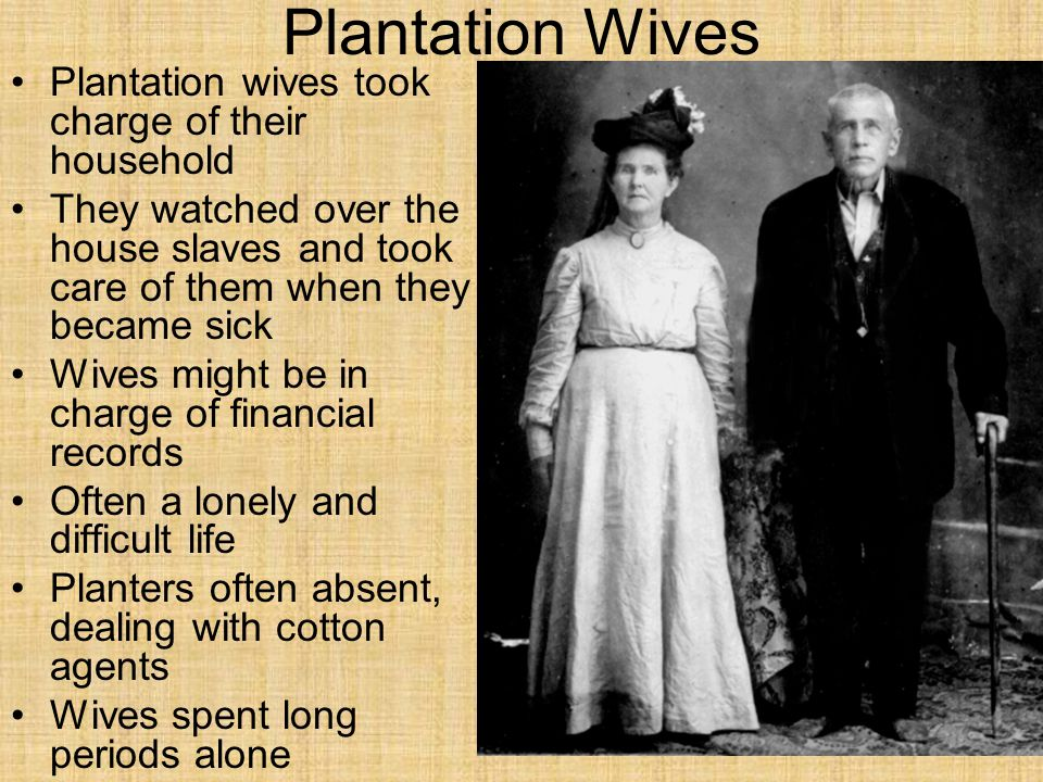 Plantation Wives Plantation wives took charge of their household They watched over the house slaves and took care of them when they became sick Wives might be in charge of financial records Often a lonely and difficult life Planters often absent, dealing with cotton agents Wives spent long periods alone