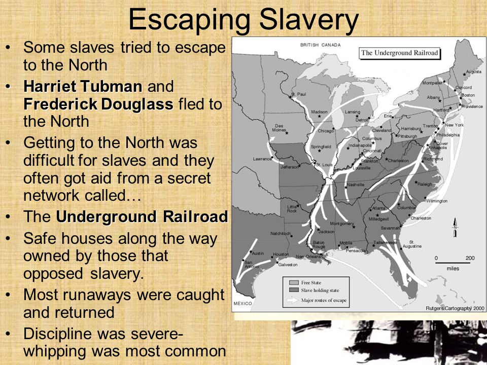Escaping Slavery Some slaves tried to escape to the North Harriet Tubman Frederick DouglassHarriet Tubman and Frederick Douglass fled to the North Getting to the North was difficult for slaves and they often got aid from a secret network called… Underground RailroadThe Underground Railroad Safe houses along the way owned by those that opposed slavery.