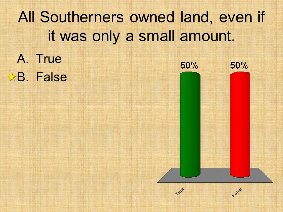 All Southerners owned land, even if it was only a small amount. A.True B.False