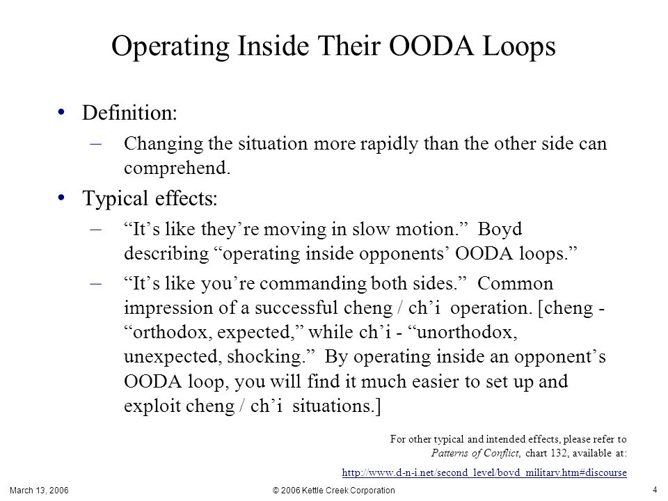 March 13, 2006 © 2006 Kettle Creek Corporation 4 Operating Inside Their OODA Loops Definition: – Changing the situation more rapidly than the other side can comprehend.