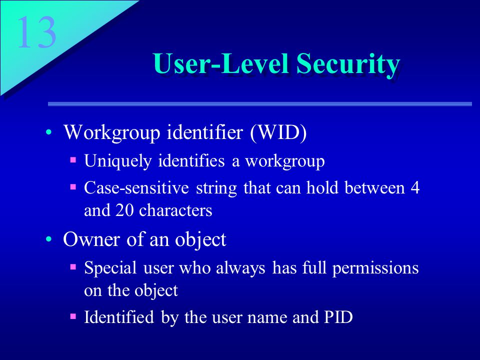 13 User-Level Security Workgroup identifier (WID)  Uniquely identifies a workgroup  Case-sensitive string that can hold between 4 and 20 characters Owner of an object  Special user who always has full permissions on the object  Identified by the user name and PID