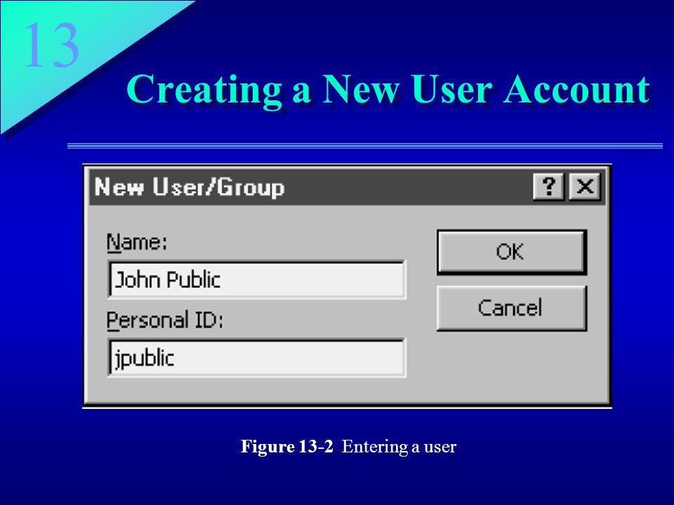 13 Creating a New User Account Figure 13-2 Entering a user
