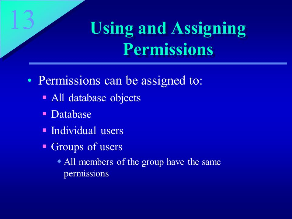 13 Using and Assigning Permissions Permissions can be assigned to:  All database objects  Database  Individual users  Groups of users  All members of the group have the same permissions