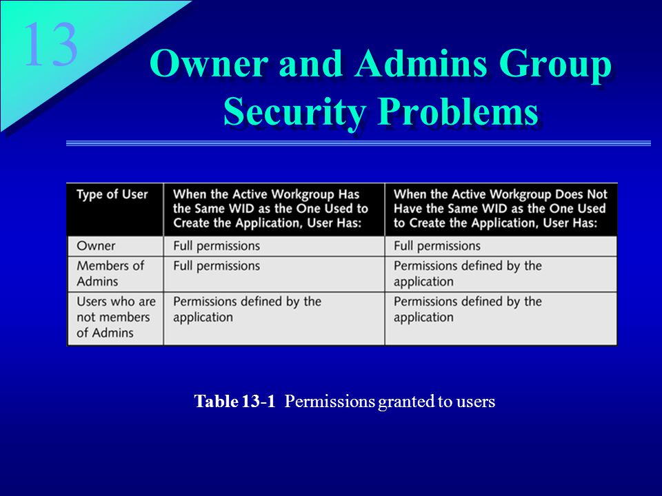 13 Owner and Admins Group Security Problems Table 13-1 Permissions granted to users