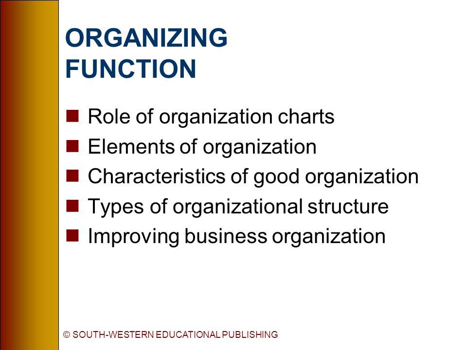 © SOUTH-WESTERN EDUCATIONAL PUBLISHING ORGANIZING FUNCTION nRole of organization charts nElements of organization nCharacteristics of good organization nTypes of organizational structure nImproving business organization