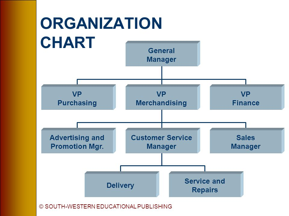 © SOUTH-WESTERN EDUCATIONAL PUBLISHING ORGANIZATION CHART Delivery Service and Repairs Advertising and Promotion Mgr.