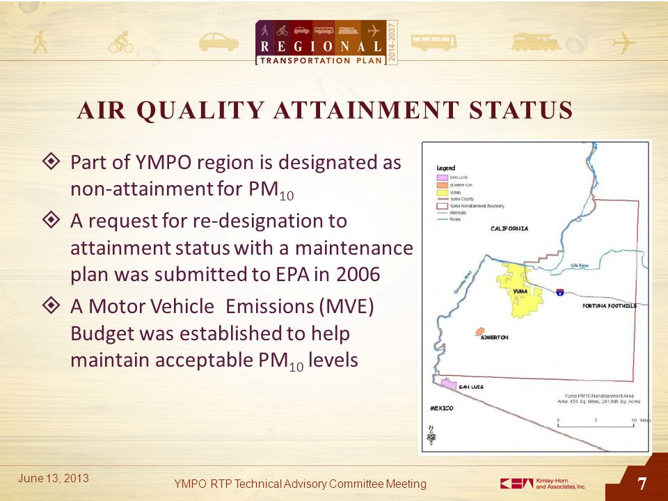 7 AIR QUALITY ATTAINMENT STATUS  Part of YMPO region is designated as non-attainment for PM 10  A request for re-designation to attainment status with a maintenance plan was submitted to EPA in 2006  A Motor Vehicle Emissions (MVE) Budget was established to help maintain acceptable PM 10 levels YMPO RTP Technical Advisory Committee Meeting June 13, 2013