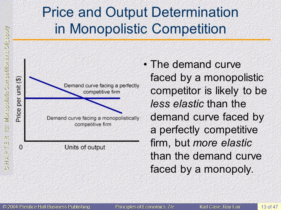 C H A P T E R 13: Monopolistic Competition and Oligopoly © 2004 Prentice Hall Business PublishingPrinciples of Economics, 7/eKarl Case, Ray Fair 13 of 47 Price and Output Determination in Monopolistic Competition The demand curve faced by a monopolistic competitor is likely to be less elastic than the demand curve faced by a perfectly competitive firm, but more elastic than the demand curve faced by a monopoly.