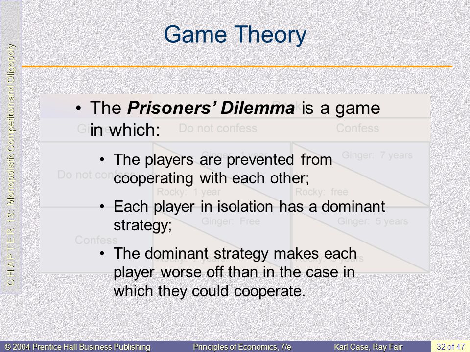 C H A P T E R 13: Monopolistic Competition and Oligopoly © 2004 Prentice Hall Business PublishingPrinciples of Economics, 7/eKarl Case, Ray Fair 32 of 47 Game Theory The Prisoners' Dilemma is a game in which: The players are prevented from cooperating with each other; Each player in isolation has a dominant strategy; The dominant strategy makes each player worse off than in the case in which they could cooperate.