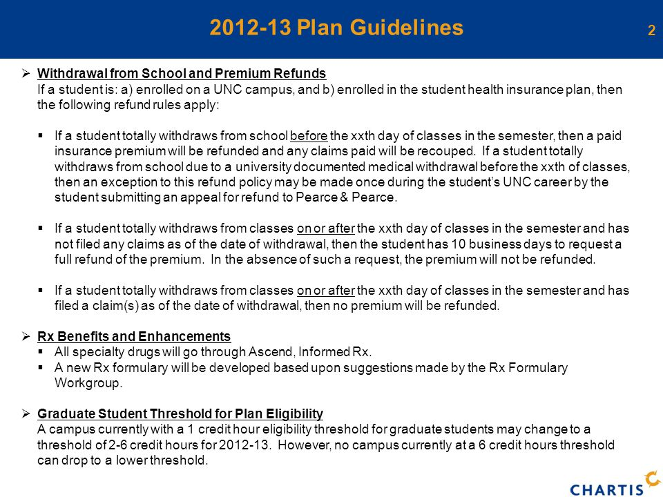 2 2012-13 Plan Guidelines  Withdrawal from School and Premium Refunds If a student is: a) enrolled on a UNC campus, and b) enrolled in the student health insurance plan, then the following refund rules apply:  If a student totally withdraws from school before the xxth day of classes in the semester, then a paid insurance premium will be refunded and any claims paid will be recouped.