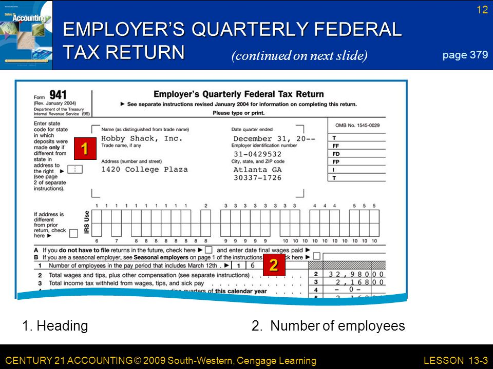 CENTURY 21 ACCOUNTING © 2009 South-Western, Cengage Learning 12 LESSON 13-3 EMPLOYER'S QUARTERLY FEDERAL TAX RETURN page 379 (continued on next slide) 1 2 1.