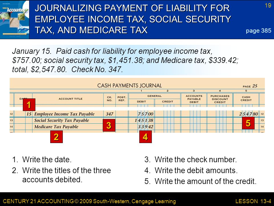 CENTURY 21 ACCOUNTING © 2009 South-Western, Cengage Learning 19 LESSON 13-4 JOURNALIZING PAYMENT OF LIABILITY FOR EMPLOYEE INCOME TAX, SOCIAL SECURITY TAX, AND MEDICARE TAX 1 2 3 4 5 page 385 January 15.